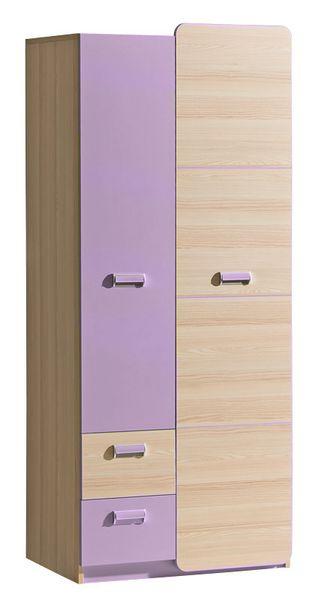 LORENTTO, kombinovaná skříň L1, jasan/fialová