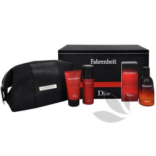 Dior Fahrenheit - EDT 50 ml + sprchový gel 50 ml + deodorant ve spreji 50 ml + kosmetická taška