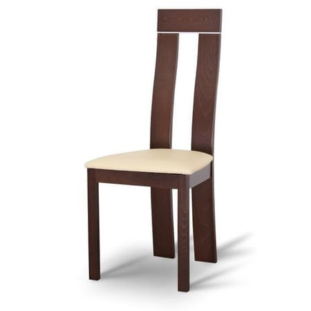 Drevená stolička, orech/ekokoža béžová, DESI