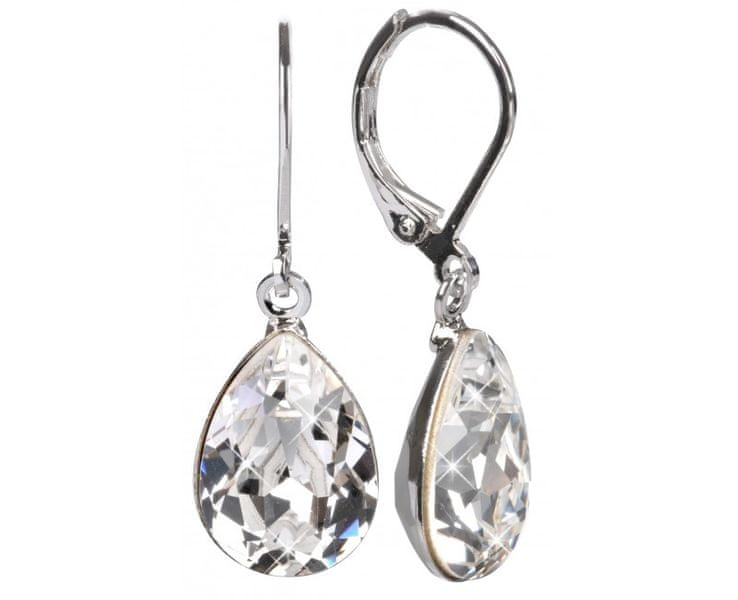 Troli Náušnice Pear 14 mm Crystal