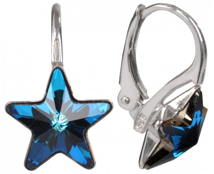 Troli Dívčí stříbrné náušnice Star 10 mm Bermuda Blue E474510KLAgRhBermudaBlue
