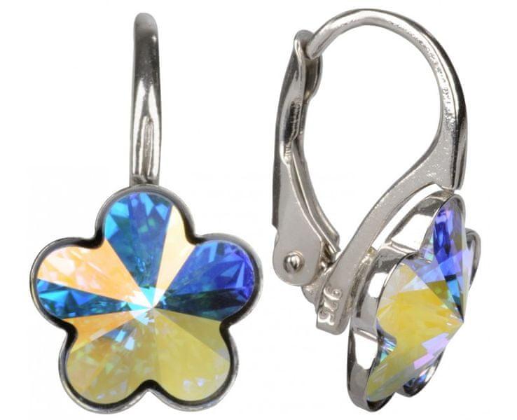 Troli Dívčí stříbrné náušnice Flower Crystal AB