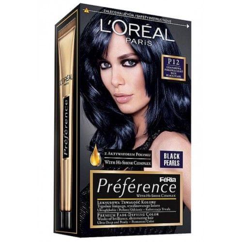 L'Oréal Barva na vlasy Préférence Black Pearls (Odstín P12 Black Blue)