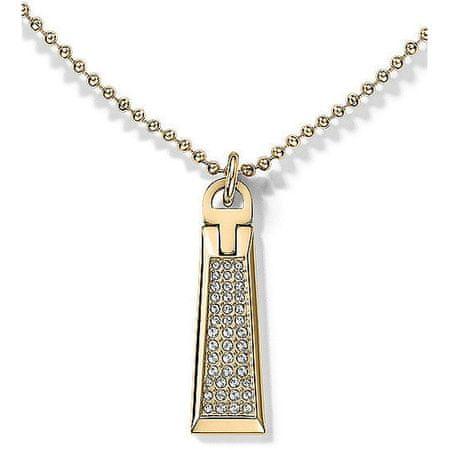 Tommy Hilfiger Zlatý náhrdelník so zipsom s kryštálmi TH2700719