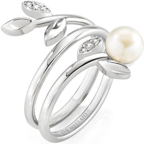 Morellato Ocelový prsten s perlou Gioia SAER26 (Obvod 56 mm)