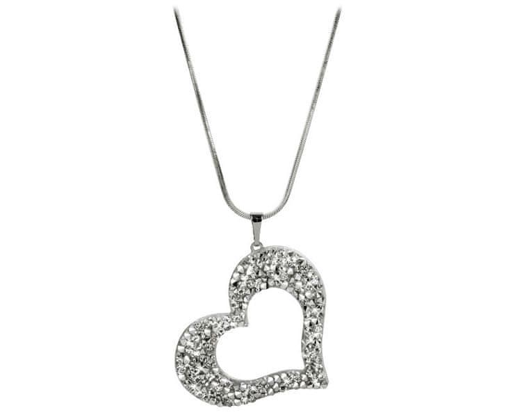 Levien Třpytivý náhrdelník Srdce se sypanými krystaly