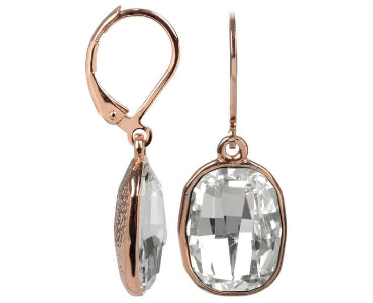 Troli Bronzové náušnice Graphic Crystal