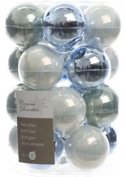 Kaemingk Vánoční ozdoby koule 20 ks, bílá/světle modrá