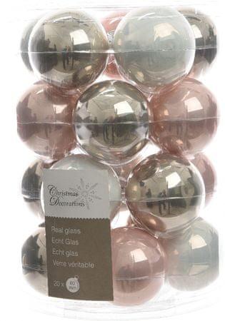 Kaemingk Božični okraski bunke 20 kosov, roza/biserna