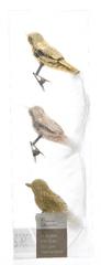 Kaemingk Dekorativní ozdoby ptáčci, zlatá 3 ks