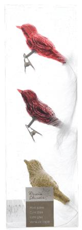 Kaemingk Dekorativni okraski ptice, rdeča/zlata 3 kosi