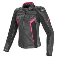 Dainese rACING D1 PELLE LADY dámská bunda na motorku, černá/antracit/fluo-růžová, kůže