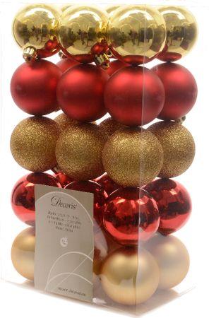 Kaemingk Vánoční ozdoby 30 ks červená, zlatá