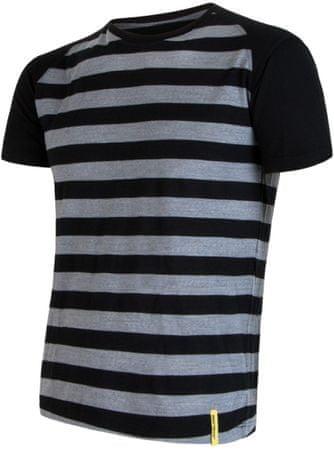 Sensor moška majica s kratkimi rokavi Merino Wool Active, črna s črtami, S