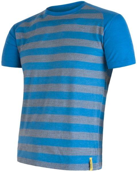 Sensor Merino Wool Active pánské triko kr.ruk. modrá pruhy L