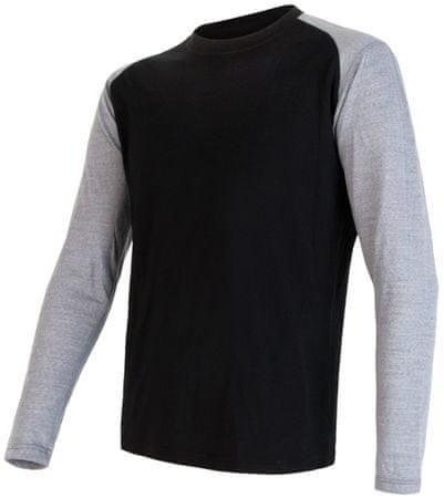 Sensor moška majica z dolgimi rokavi Merino Active PT Logo, črno siva, M