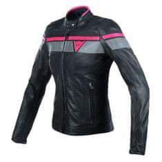 Dainese dámská kožená moto bunda BLACKJACK černá/šedá/červená