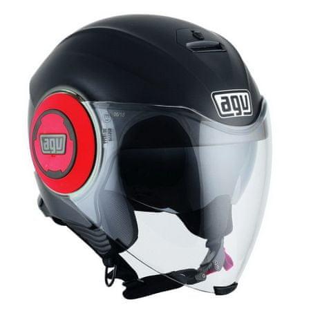 AGV motocyklová jet prilba  FLUID čierna matná/červená vel.L (59-60cm)