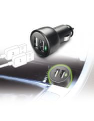 CellularLine avto polnilec, 2 x USB, 3A, črn