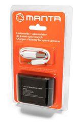 Manta manta-polnilec in dodatna baterija 900 mAh za športne kamere - Odprta embalaža