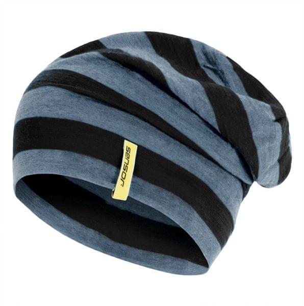 Sensor Čepice Merino Wool černá pruhy L
