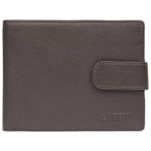 Lagen Pánská tmavě hnědá kožená peněženka Dark Brown C-22/L