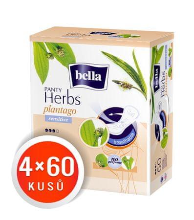 Bella Herbs Plantago Sensitive dnevni vložki, 4 x 60 kosov