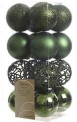 Kaemingk božični okraski različne vrste 16 kosov temno zelena