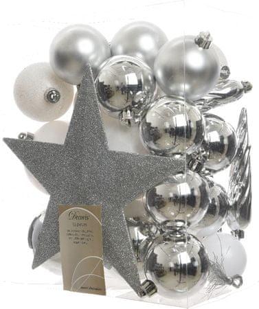 Kaemingk okraski 33 kosov vključno s špico bela, srebrna