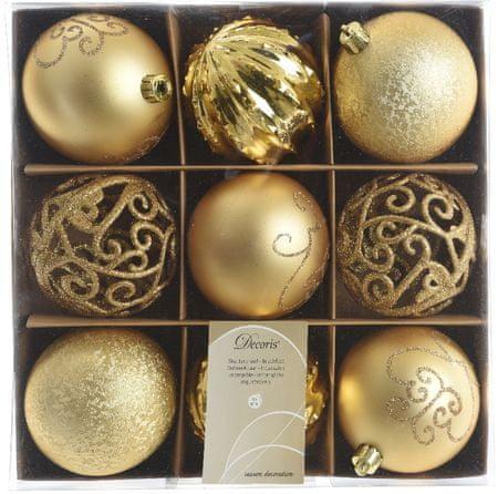 Kaemingk božični okraski v škatli 9 kosov zlata