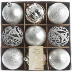 Kaemingk božični okraski v škatli 9 kosov srebrna