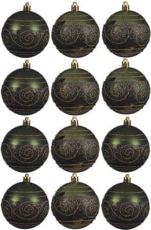 Kaemingk dekorativen okrasek 12 kosov zelen