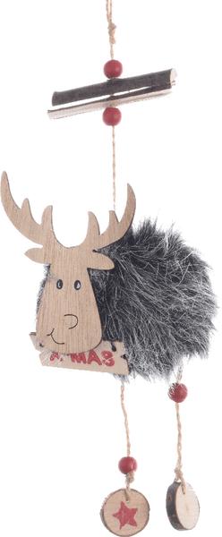 Kaemingk Vánoční figurka sob šedý 32 cm