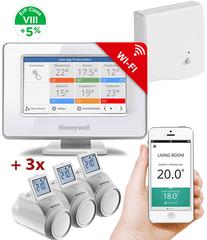 Honeywell Evohome Starter Set 3 CZ, Evohome Touch WiFi + 3x termohlavice + BDR91, +5% ErP 8