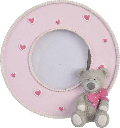 Kaemingk Fotorámeček s medvídkem 10x10 cm, růžová