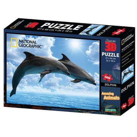 National Geographic sestavljanka 3D - Delfini, 500 kosov, 61x46 cm