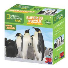 National Geographic sestavljanka 3D - Pingvini, 100 kosov, 31x23 cm