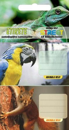 Street etiketa za zvezek Animal Wild, 10/1