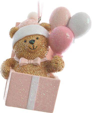 Kaemingk Božičen okrasek medvedek z baloni, moder