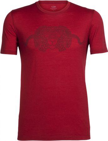 Icebreaker Mens Tech Lite Crewe Merino majica, rdeča, L