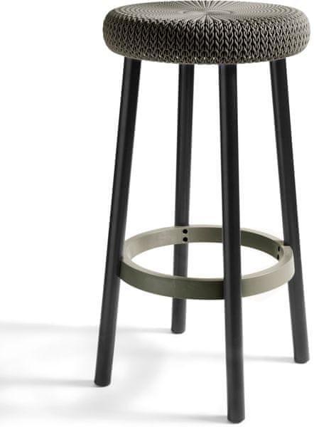 Curver Knit Barová stolička, hnědá