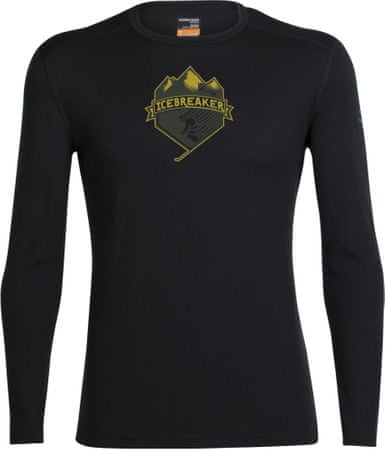 Icebreaker Mens Oasis LS Crewe Ski Crest Black XL
