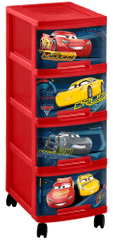 CURVER komoda na kółkach CARS, 4 x 10 l