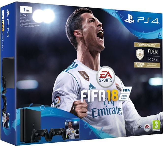 Sony PlayStation 4 Slim - 1TB + 2x Dualshock + Fifa 18