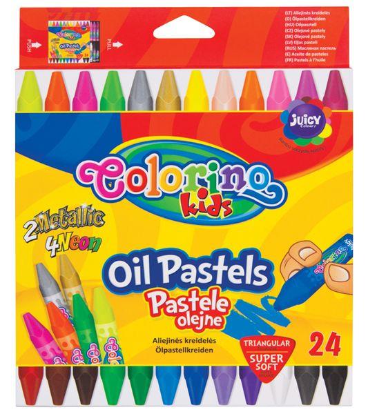 Pastely olejové Colorino trojhranné 24 barev (zlatá, stříbrná, 4x neon)