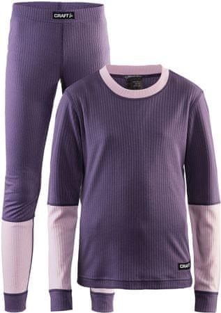 Craft otroški set majica in hlače Baselayer JR, vijoličen, 158/164