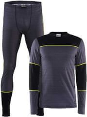 Craft moški set majica + hlače Baselayer, zeleno-sivi
