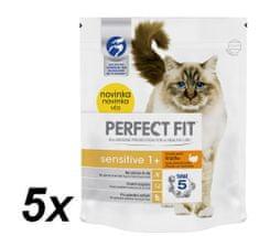 Perfect fit suha hrana za mačke z občutljivo prebavo Sensitive, s puranom, 5 x 750 g