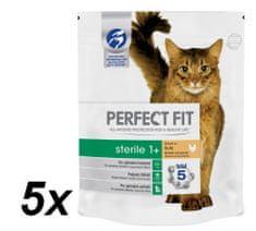Perfect fit suha hrana za sterilizirane mačke Sterile, s piščancem, 5 x 750 g