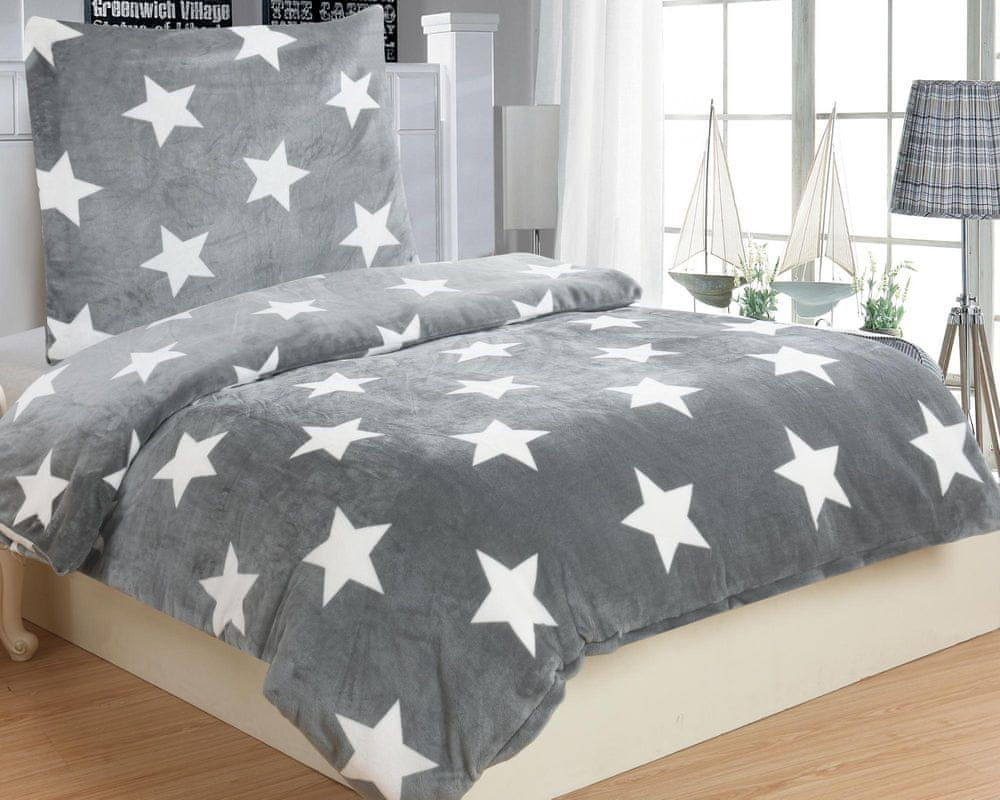 Jahu povlečení mikroplyš Stars grey